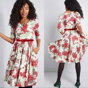 ModCloth Festive Impression Floral Dress